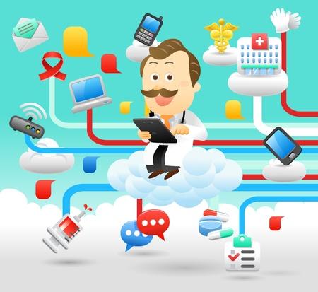 hospital cartoon: medico, dottore, tablet pc, cloud computing set Vettoriali