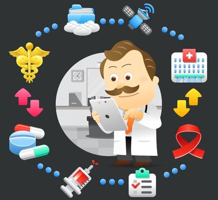 hombres maduros: m�dico, doctor, Tablet PC, juego de la computaci�n en nube