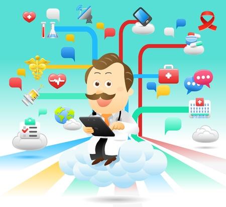 médico, doctor, Tablet PC, juego de la computación en nube