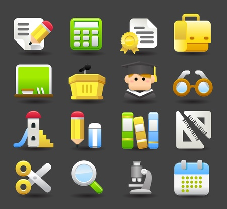 school,education,research icon set Vector