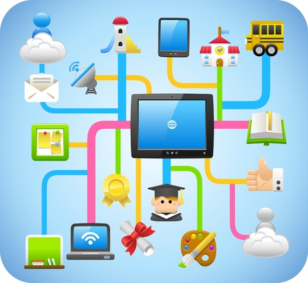 business tool: cloud computing,education,school,learning concept Illustration