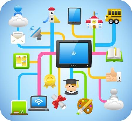 la computación en nube, la educación, la escuela, el aprendizaje de concepto Ilustración de vector