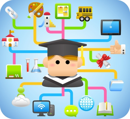 ilustration and painting: cloud computing,education,school,learning concept Illustration