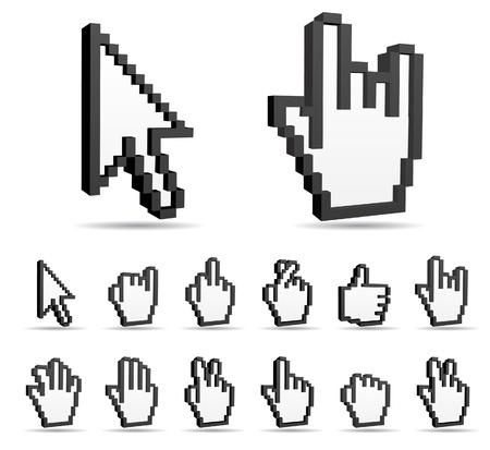 Znak rąk wektor i strzałka kursora