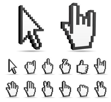kursor: Znak rąk wektor i strzałka kursora Ilustracja