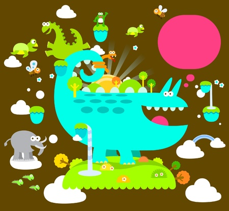 cute reptile, animals ,chameleon collection Vector