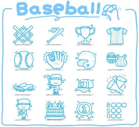 catcher: Dibujado a mano del b�isbol, el deporte icono de conjunto