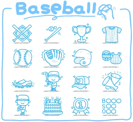 leather gloves: Hand drawn baseball,sport icon set Illustration