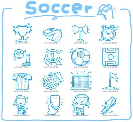 futbol soccer dibujos: Dibujado a mano del f�tbol, ??el deporte conjunto de iconos