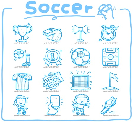 soccer stadium: Hand drawn soccer,sport icon set