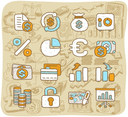 Vector Hand drawn finance ,banking ,business icon set Stock Vector - 11495648