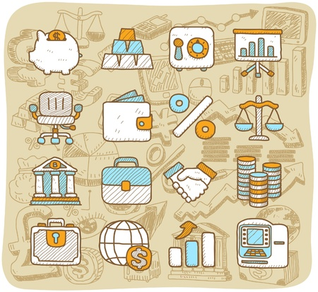 Vector Hand drawn finance ,banking ,business icon set Stock Vector - 11495649