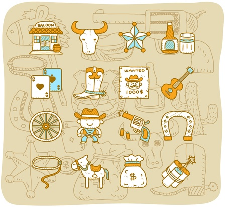 cowboy on horse:  cartoon Hand drawn wild west cowboys icon set