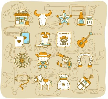 vaquero: dibujo animado hecho a mano salvaje oeste vaqueros conjunto de iconos