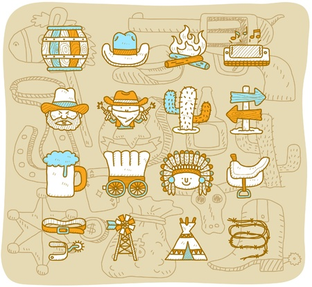 cartoon Hand drawn wild west cowboys icon set