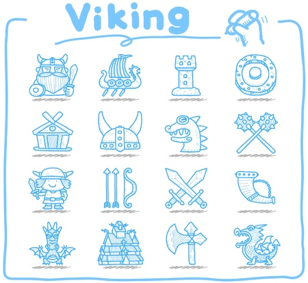 norse:  Hand drawn Viking Pirate icon set