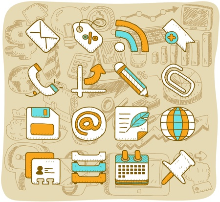 e work: Vector of Hand drawn business,office,internet icon set
