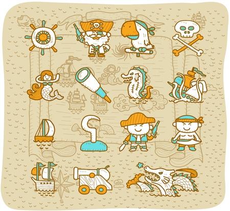 marine bird: Dibujado a mano pirata conjunto de iconos