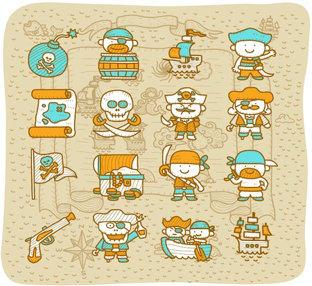 toxic barrels: Dibujado a mano pirata conjunto de iconos
