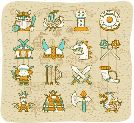vikingo: Dibujado a mano pirata vikingo conjunto de iconos Vectores