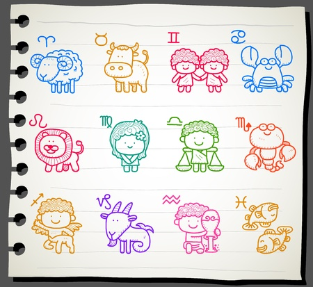 hand drawn Zodiac icon set Stock Vector - 11495656