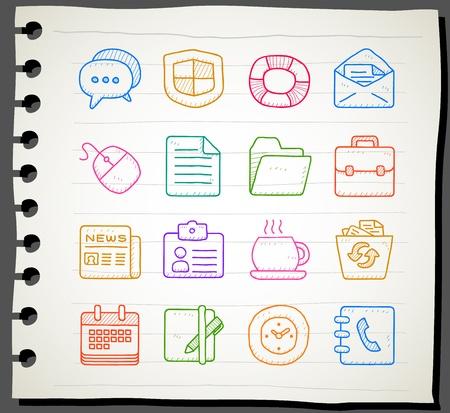 directorio telefonico: Vector de Dibujado a mano negocio, oficina, Internet conjunto de iconos