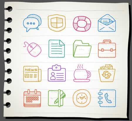 Vector of Hand drawn business,office,internet icon set Vector