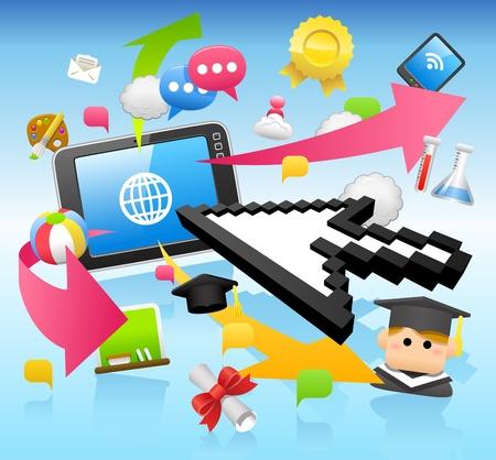 tablet pc, education,cloud computing  concept Vector