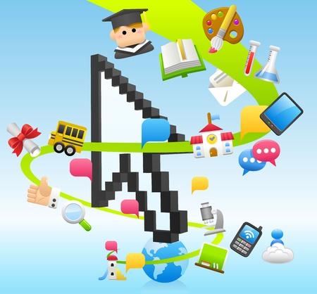 mortar board: tablet pc, education,cloud computing  concept