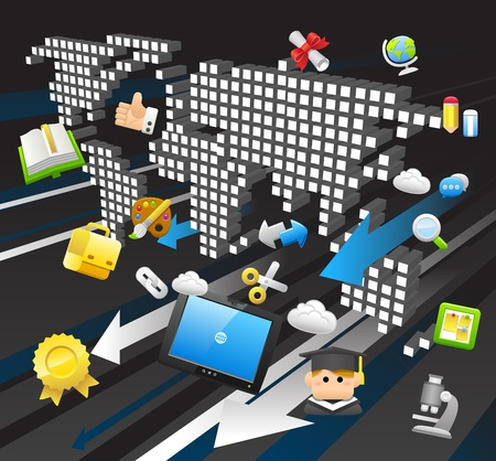 expertise: tablet pc, education,cloud computing  concept