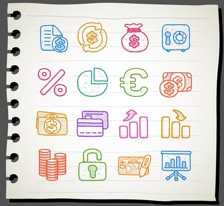 Dibujado a mano de empresas, finanzas, banca conjunto de iconos Ilustración de vector