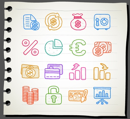 Hand drawn business,finance,banking icon set Vector
