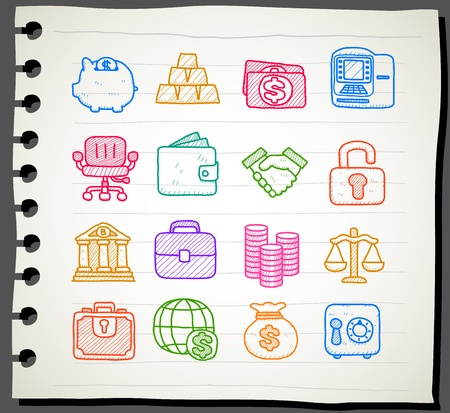 public transfer: Hand drawn business,finance,banking icon set