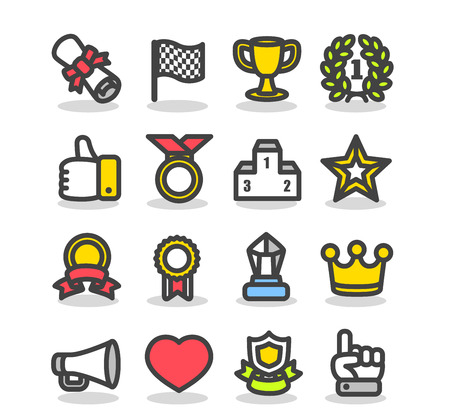 Awards & Prizes icon set Stock Vector - 11664188