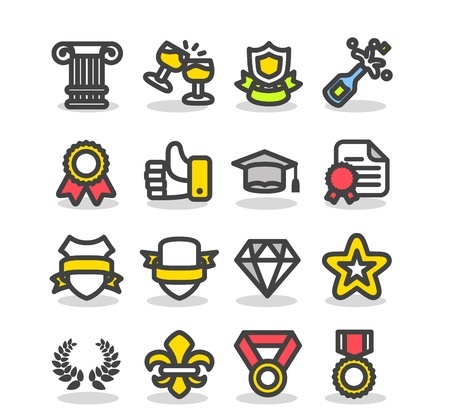 Awards & Prizes icon set Vector