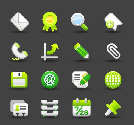 email lists: Green ,Business ,eco,offic,work,internet icon set