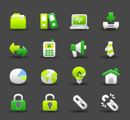 Green ,Business ,eco,offic,work,internet icon set Vector