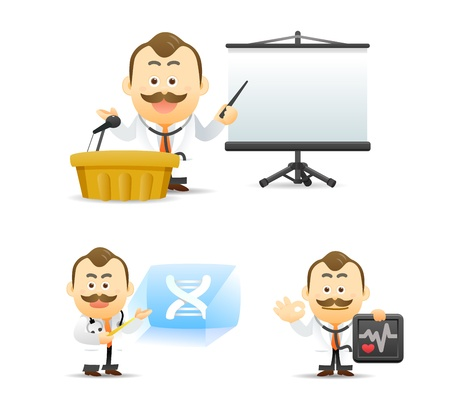 teaching adult: Vector illustration. Doctor giving presentation with projection screen.