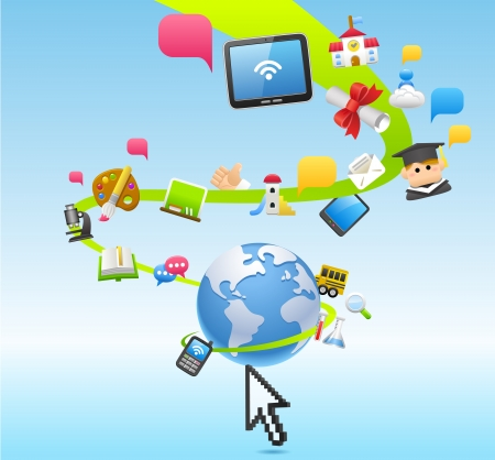 Bildung, Schule, Tablet PC, Cloud-Computing-Konzept Illustration