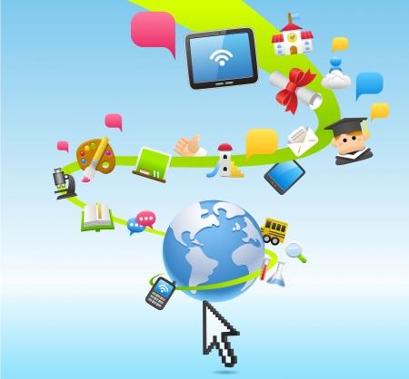 cartoon clouds: La educaci�n, la escuela, Tablet PC, el concepto de cloud computing Vectores