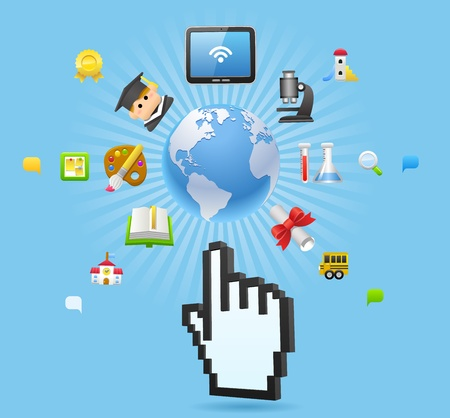 Education,school,tablet pc,cloud computing concept Stock Vector - 11980041
