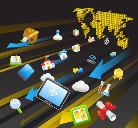 Education,school,tablet pc,cloud computing concept Vector