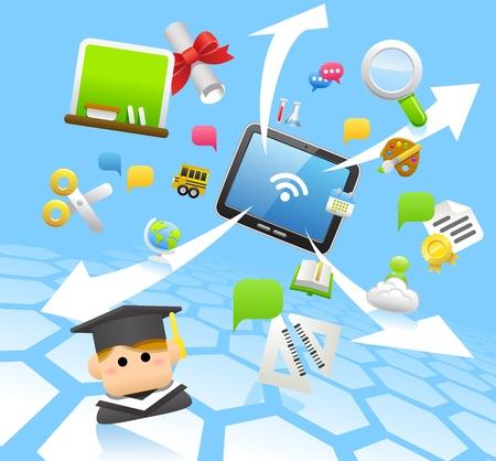 교육, 학교, 태블릿 PC, 클라우드 컴퓨팅 개념 일러스트