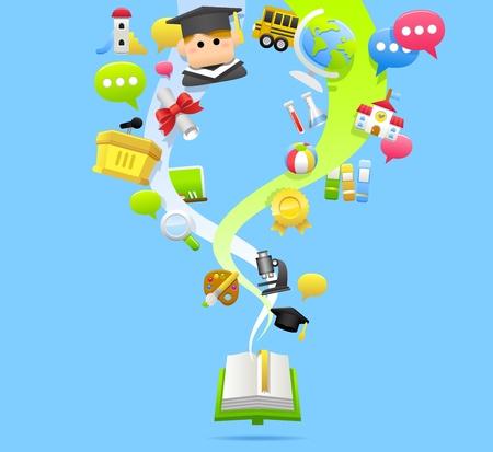L'éducation, l'école, Tablet PC, le concept de cloud computing Vecteurs