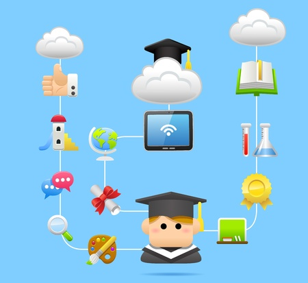 Education,school,tablet pc,cloud computing concept Vector