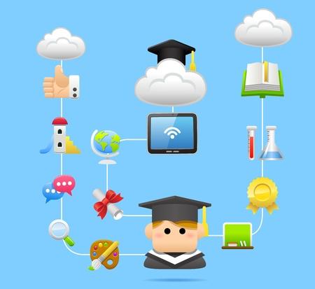 successful student: Educazione, scuola, pc tablet, concetto di cloud computing Vettoriali