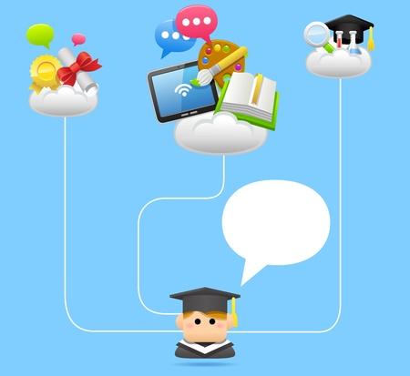 Education,school,tablet pc,cloud computing concept Stock Vector - 11980033