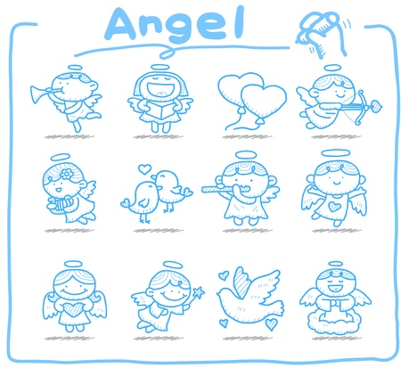 hand drawn: Hand drawn Angel icon set