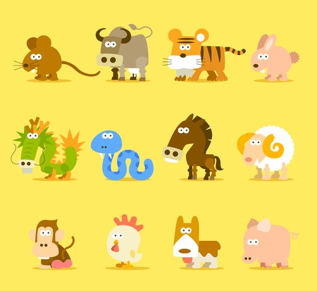 Chinese Zodiac animal ,12 animal icon set  Illustration