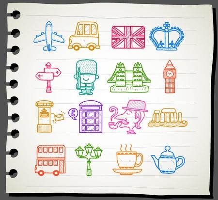 english famous: Hand drawn Britain,The United Kingdom icon set